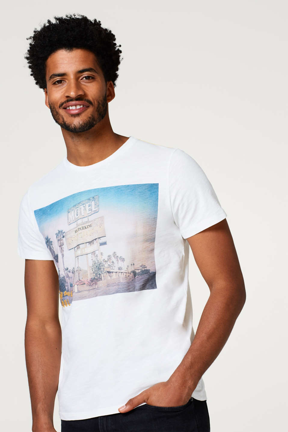 Esprit - Slub jersey T-shirt with a photo print, in cotton