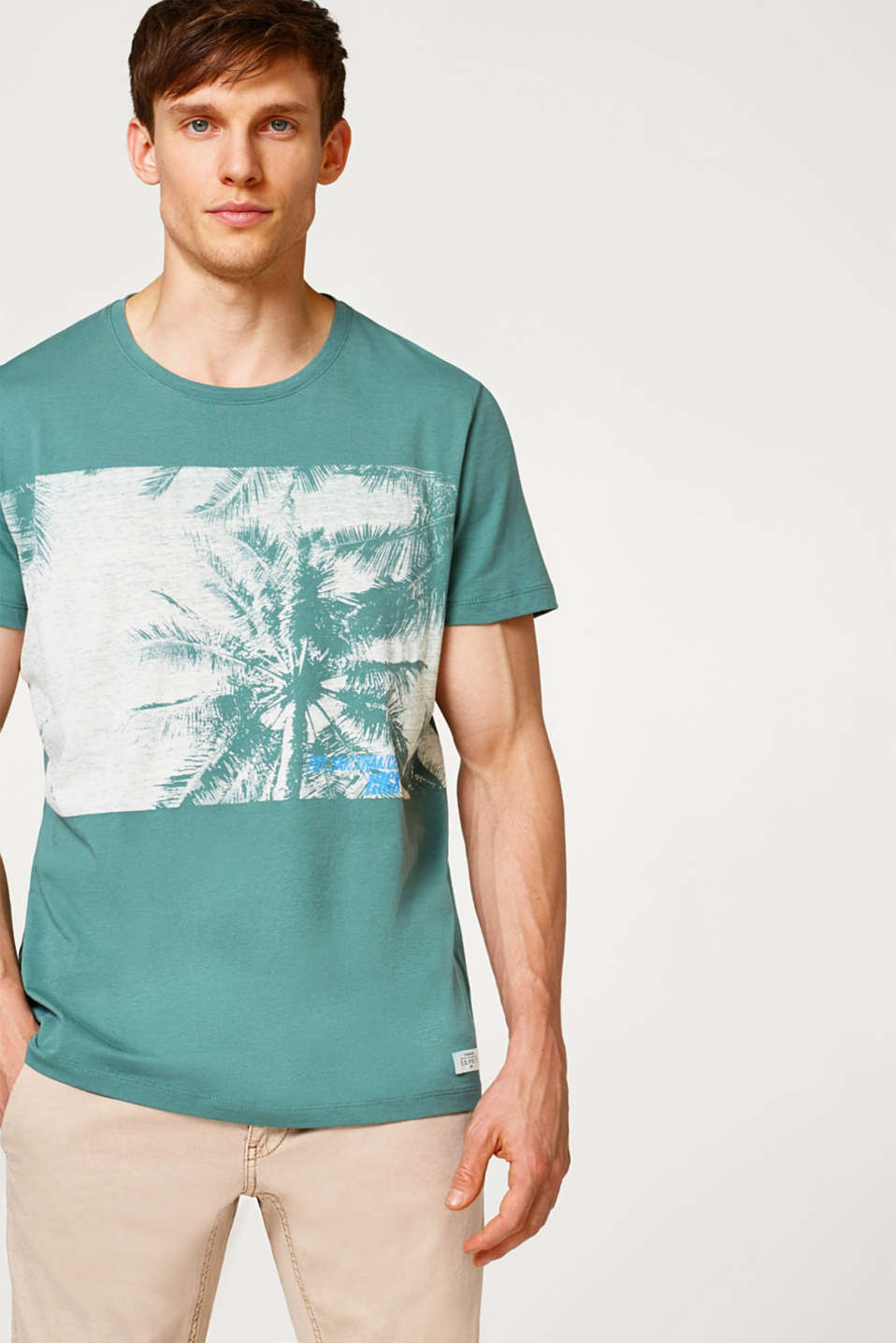 Esprit - Jersey T-shirt with a palm tree print in cotton