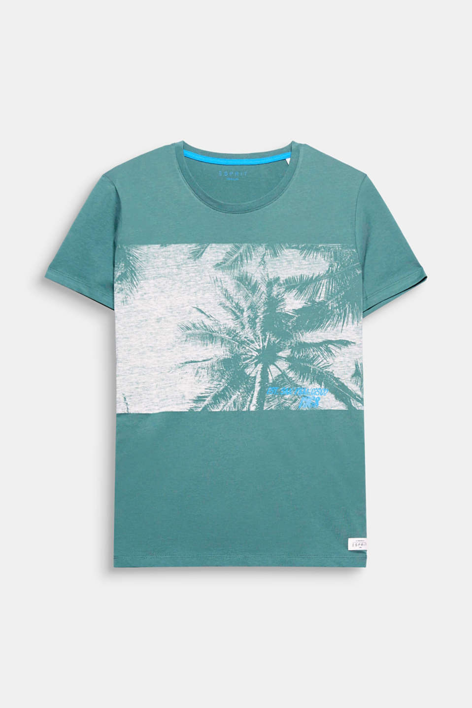 The wide block stripes with a palm print give this modern T-shirt a summery feeling.