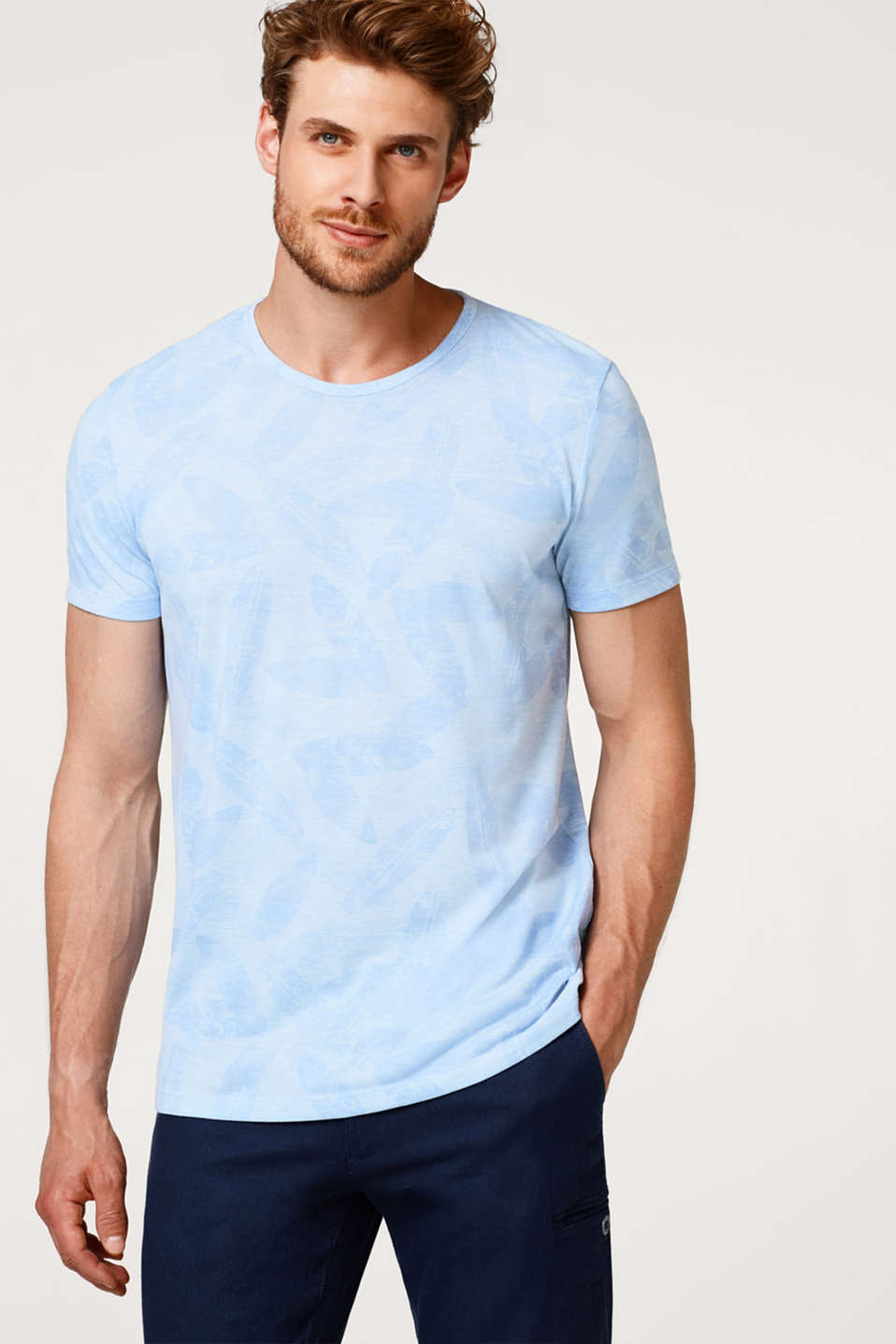 Esprit - Melange jersey T-shirt with a tropical pattern