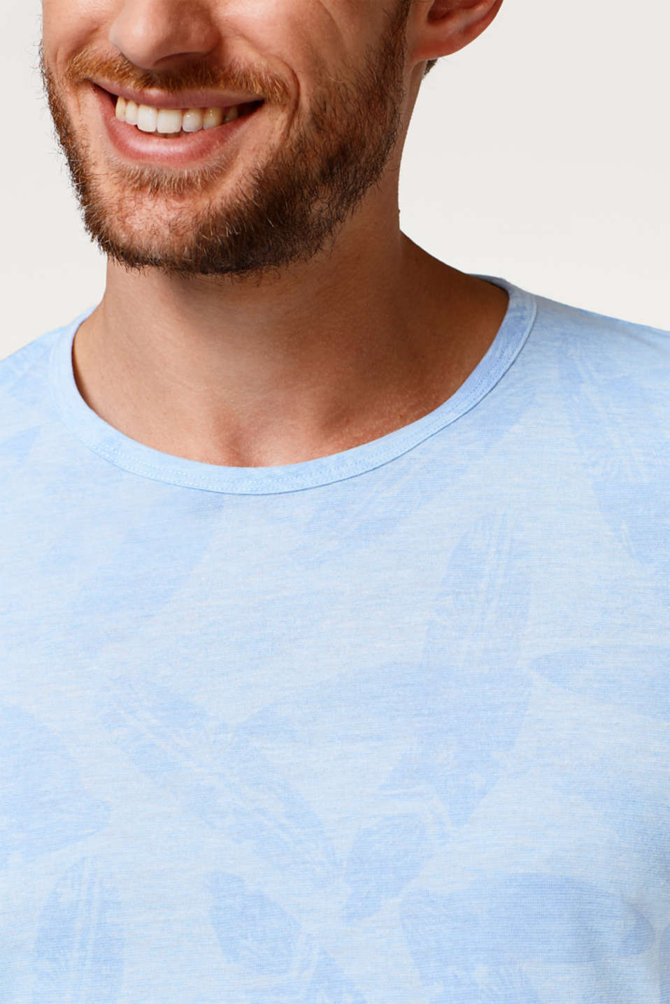 Melange jersey T-shirt with a tropical pattern