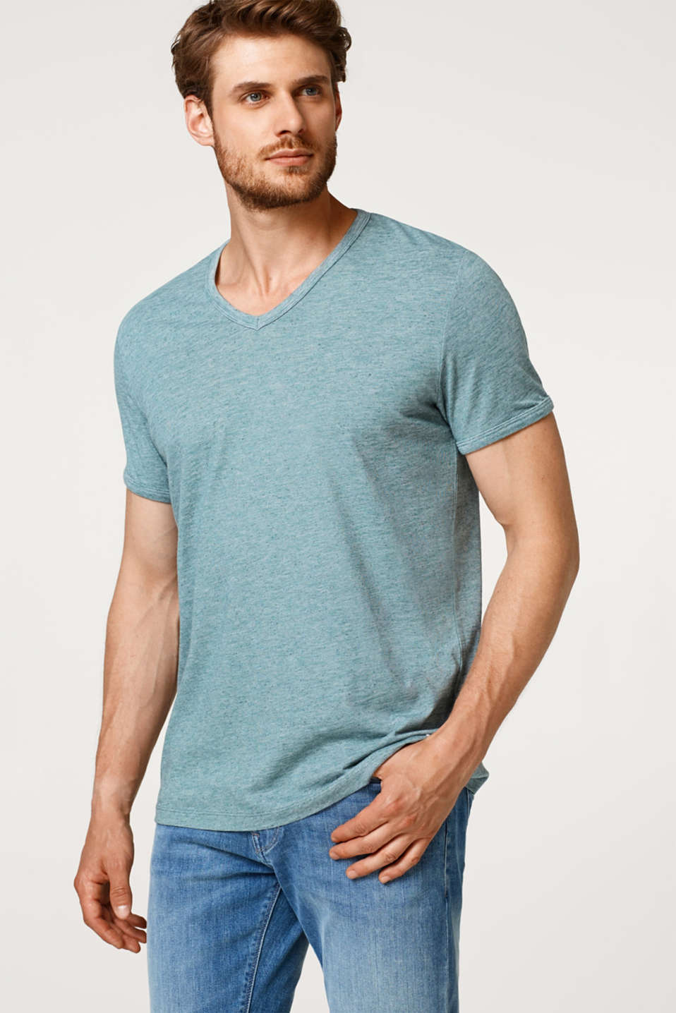 Esprit - Slub jersey T-shirt with linen