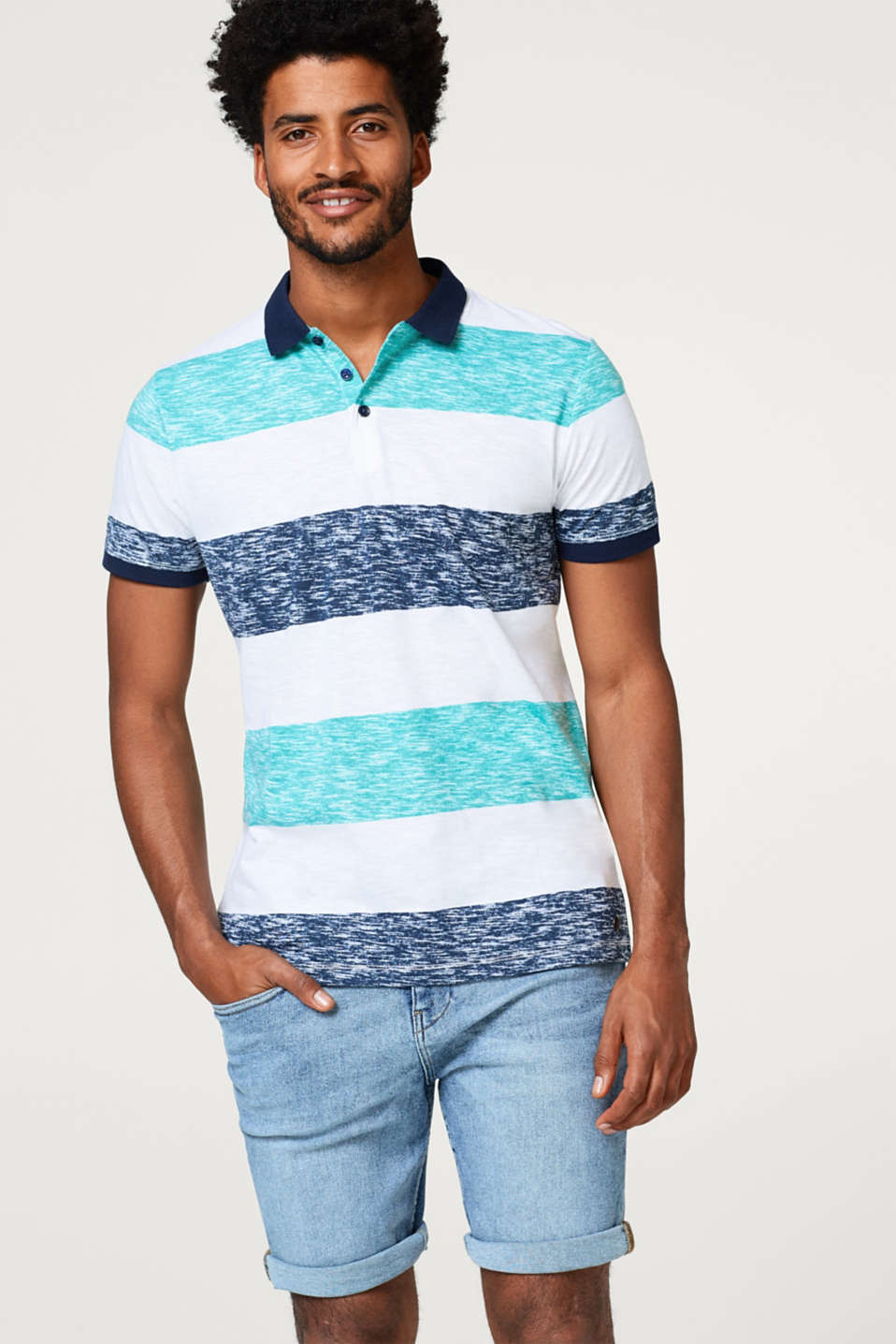 Esprit - Striped slub jersey polo shirt