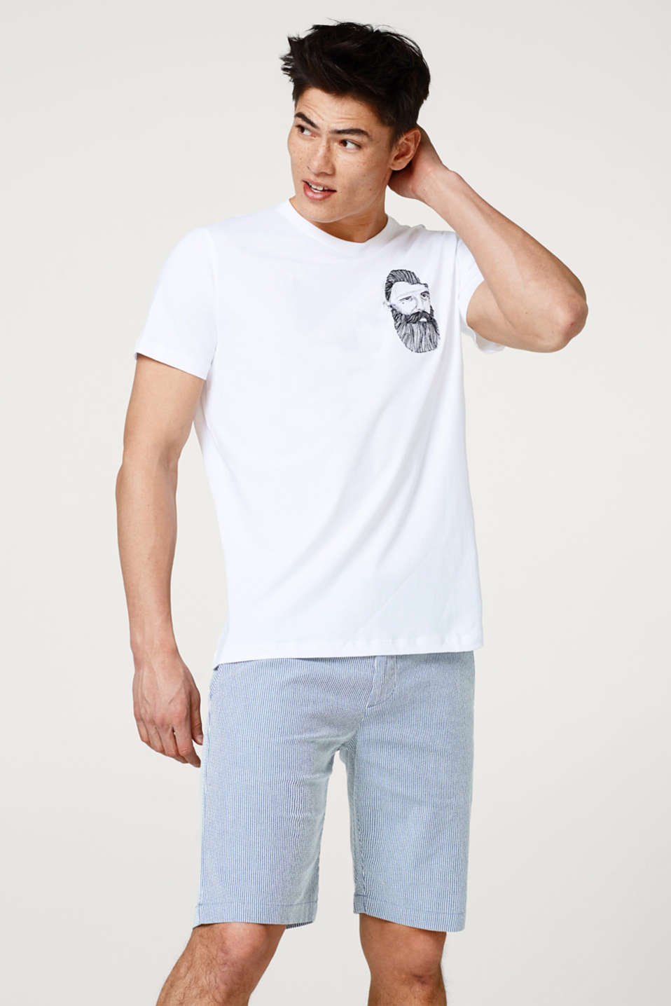 Esprit - Jersey T-shirt with a hipster print, made of cotton