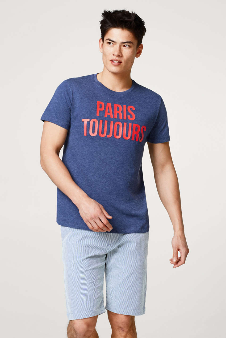 Esprit - Melange jersey T-shirt with printed lettering