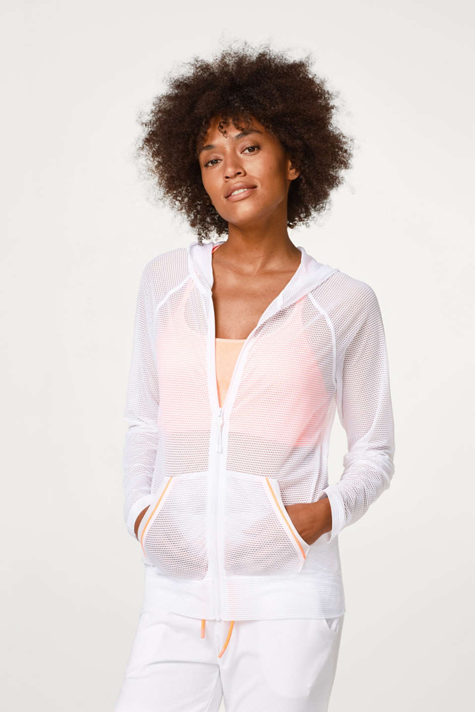 Esprit - Jacket in airy, perforated mesh, E-DRY
