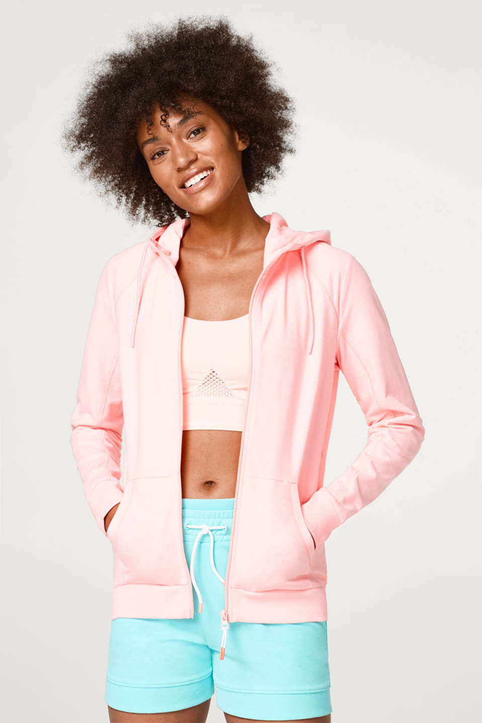 Esprit - Soft jersey cardigan with neon accents