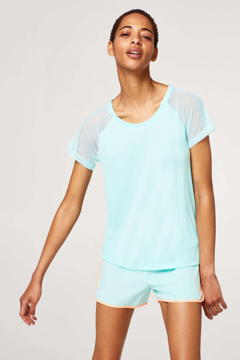 Esprit - Soft top with airy mesh sleeves