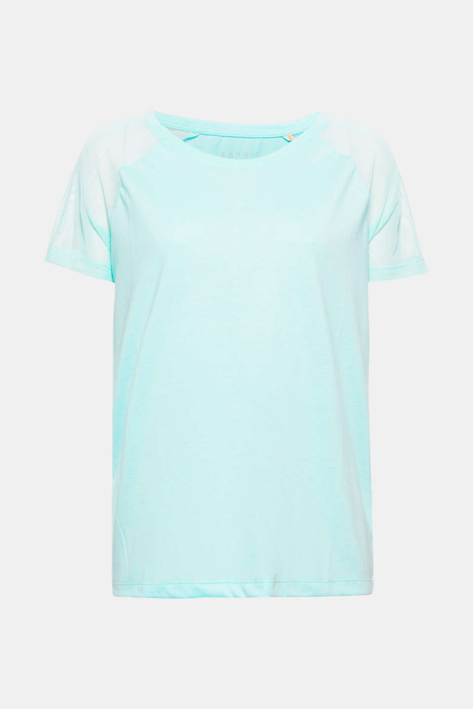 Sporty raglan sleeves made of fine mesh give this loose-cut top its airy look!