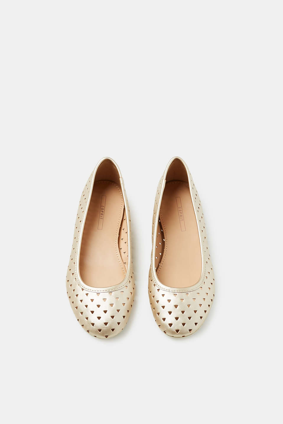 Perforated metallic ballerinas in faux leather