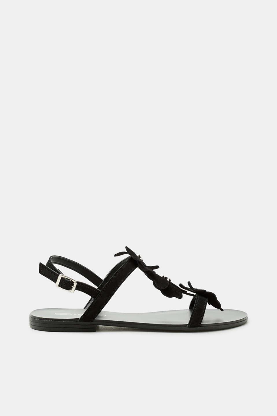 Esprit Flache Sandale mit Kleeblatt-Besatz, aus Leder für Damen, Größe 38, Black
