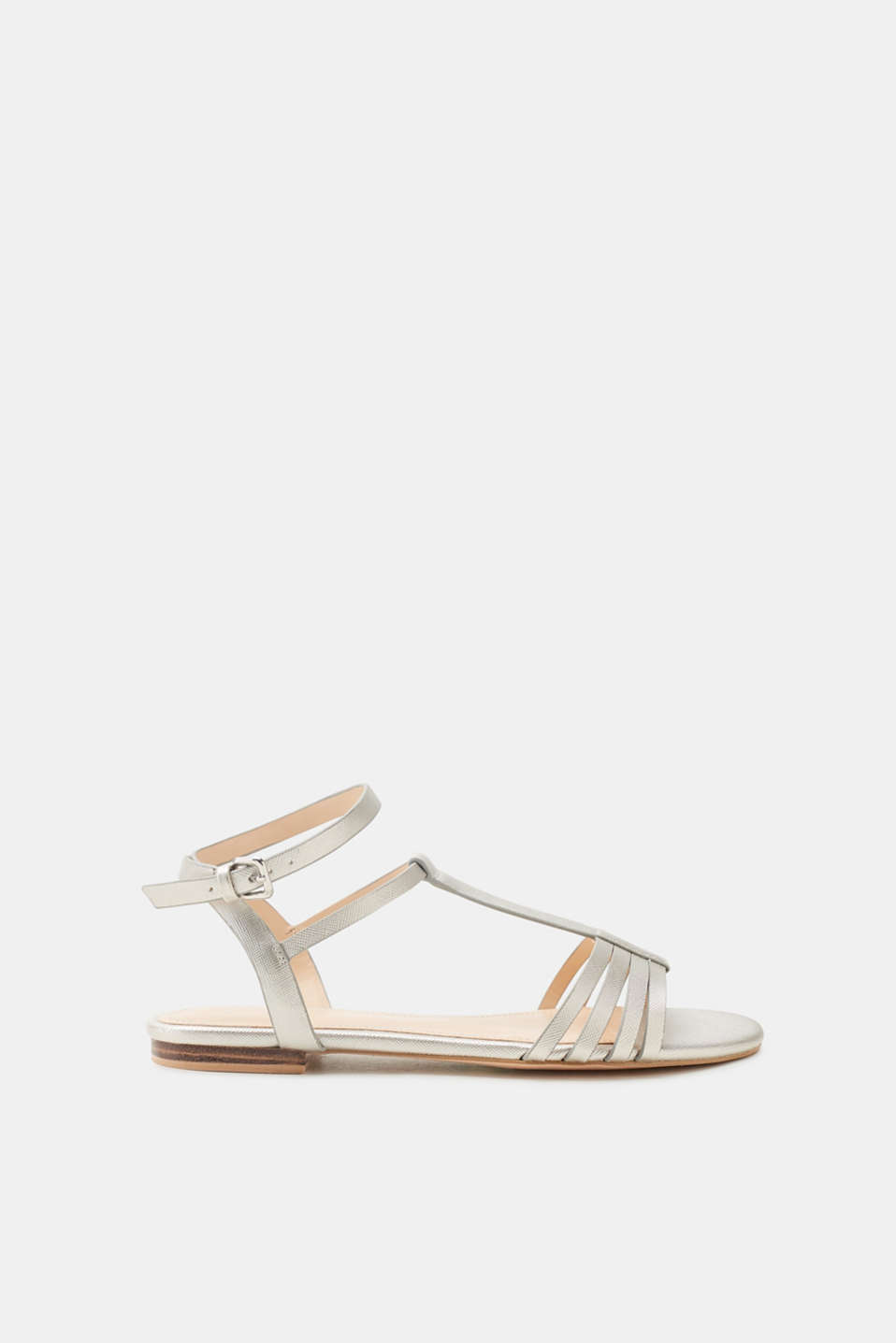 Esprit - Flat sandals in a textured faux leather look