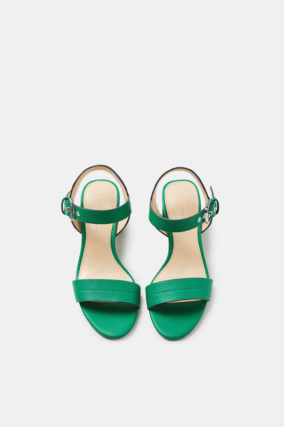 Sandals with a block heel, in faux leather