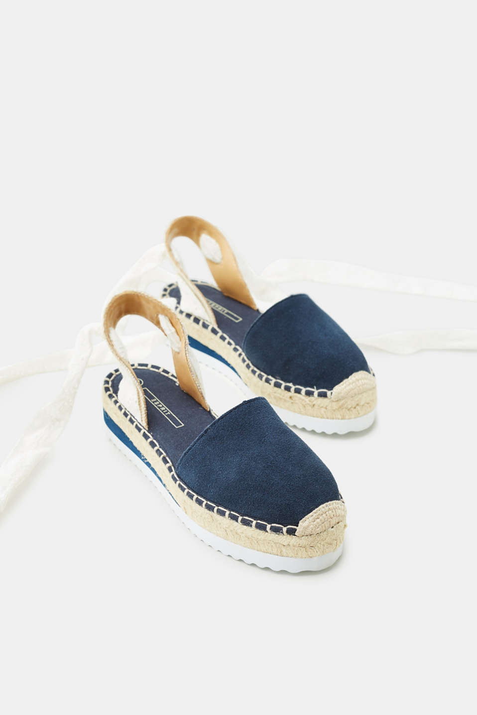 Leather espadrilles with platform soles