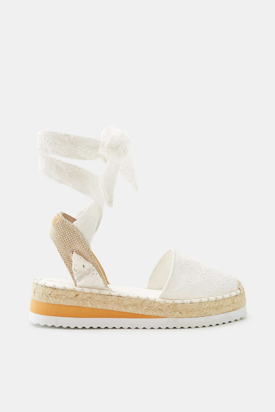Esprit - Espadrilles with broderie anglaise and a platform sole