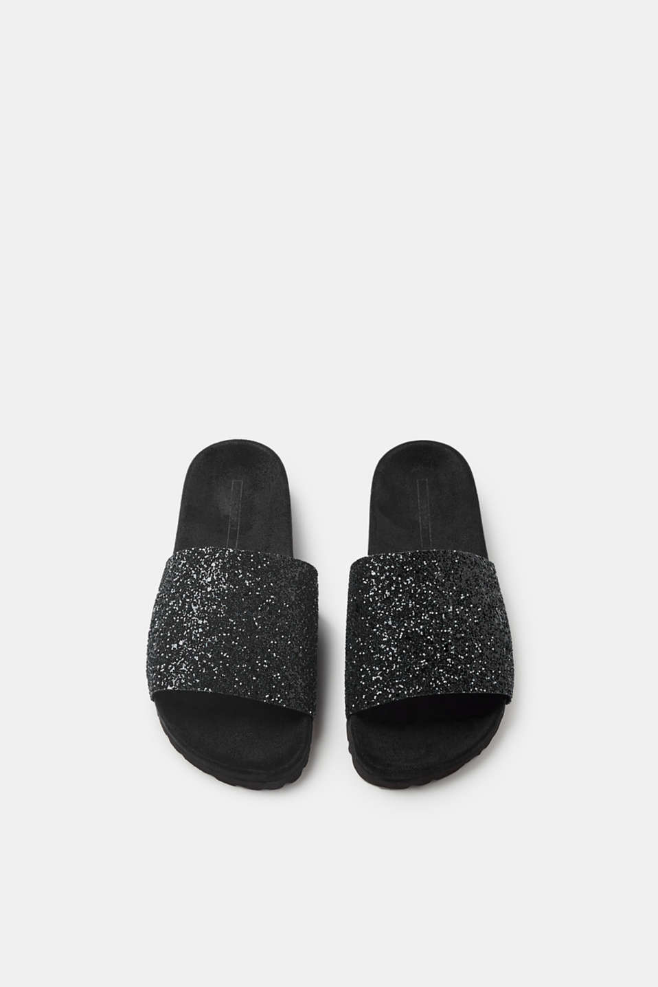 Suede mules with wide, glittering straps