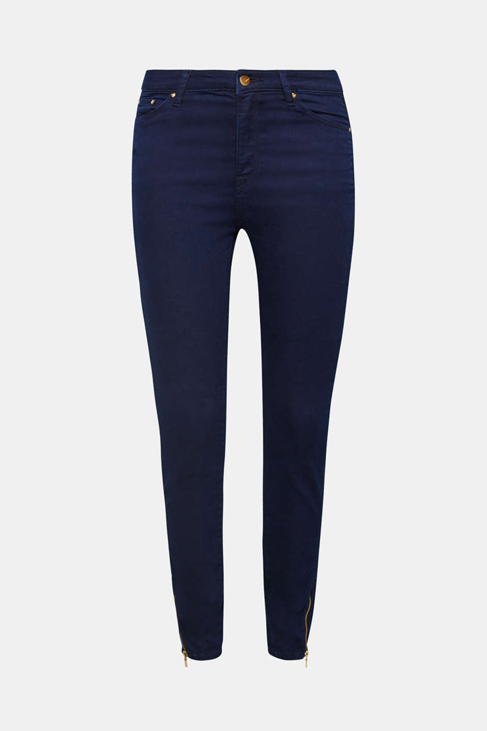 These coloured stretch jeans finished with gold-coloured studs and side hem zips fit perfectly, are mega comfy and place great emphasis on exquisite details!