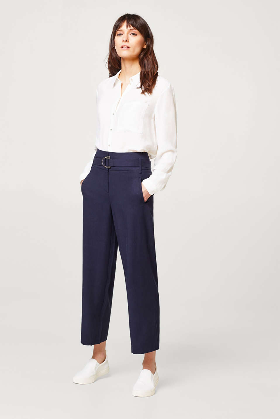Esprit - LYOCELL STRUCTURE mix + match culottes with a belt
