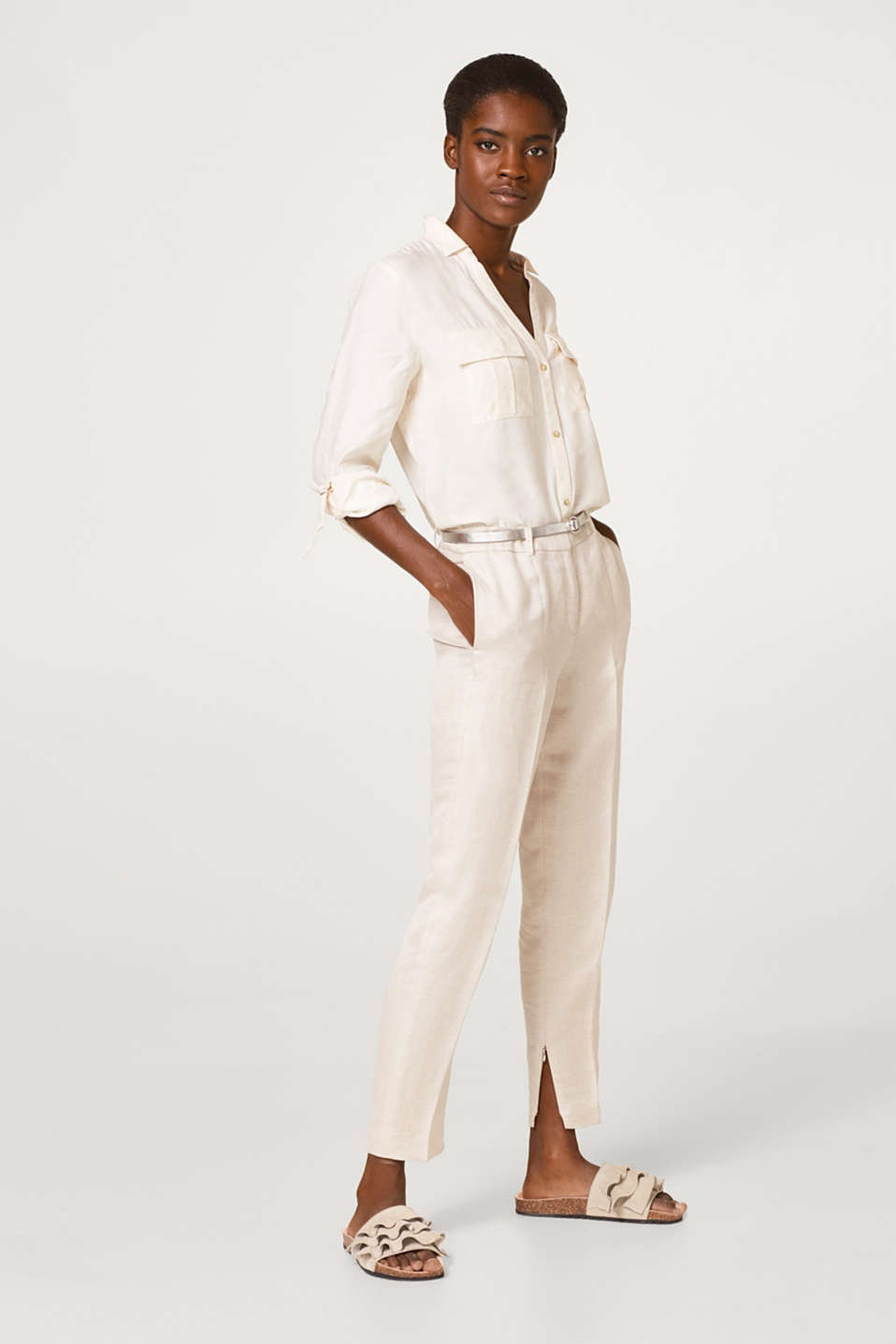COOL + SOFT mix + match linen blend trousers