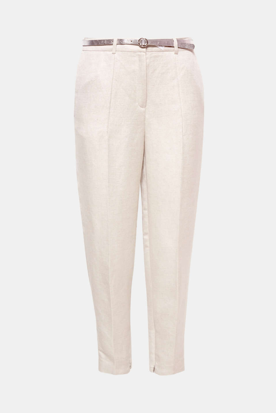 These slightly cropped linen blend trousers with an integrated belt, pressed pleats and zip details on both legs are perfect for classic, lightweight summer styling!