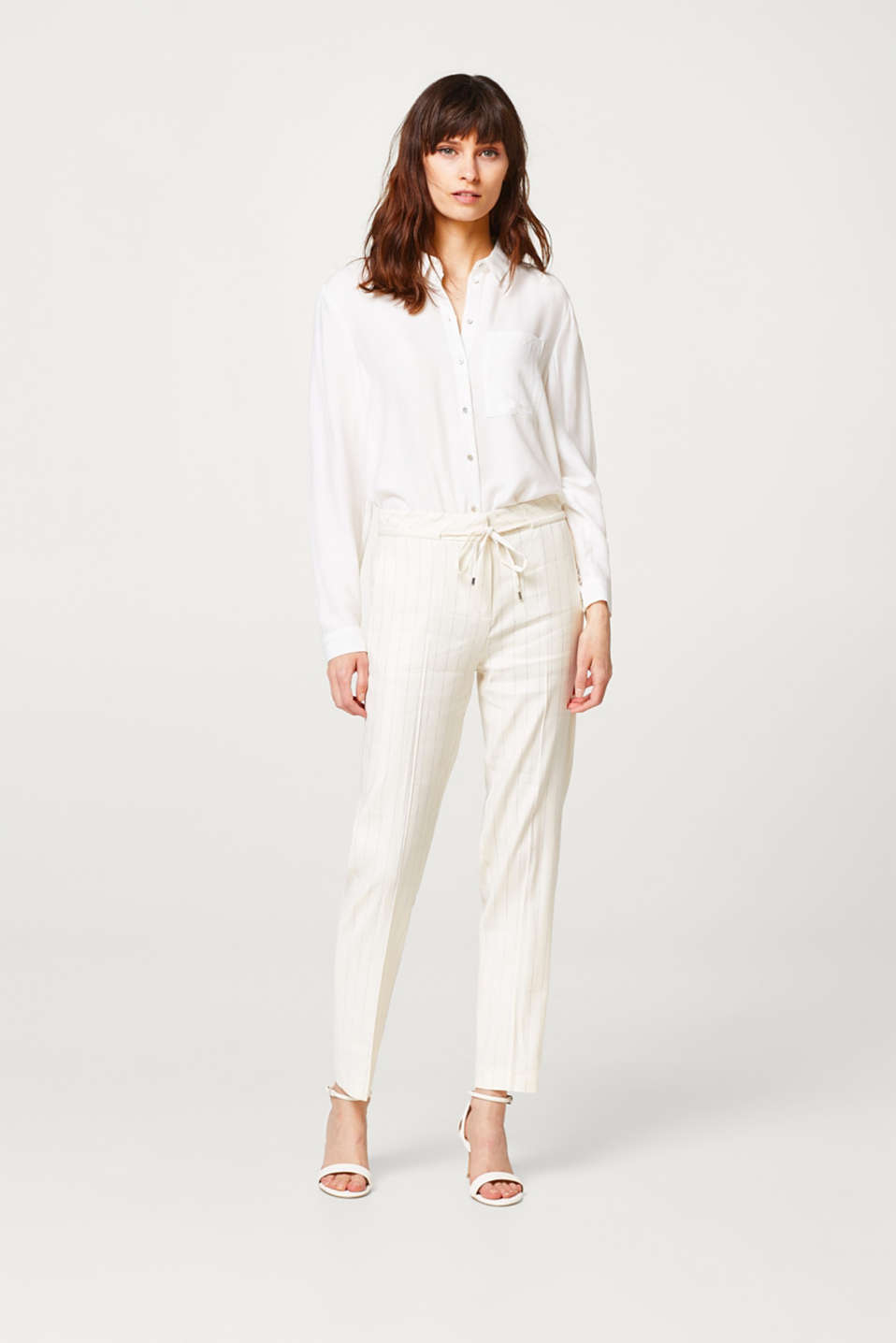 Esprit - NEW PINSTRIPES mix + match linen trousers