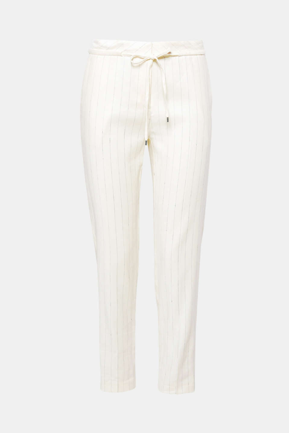 Fine pinstripes meet airy blended linen and a sporty tracksuit style: these casual trousers combine coolness with classic chic!