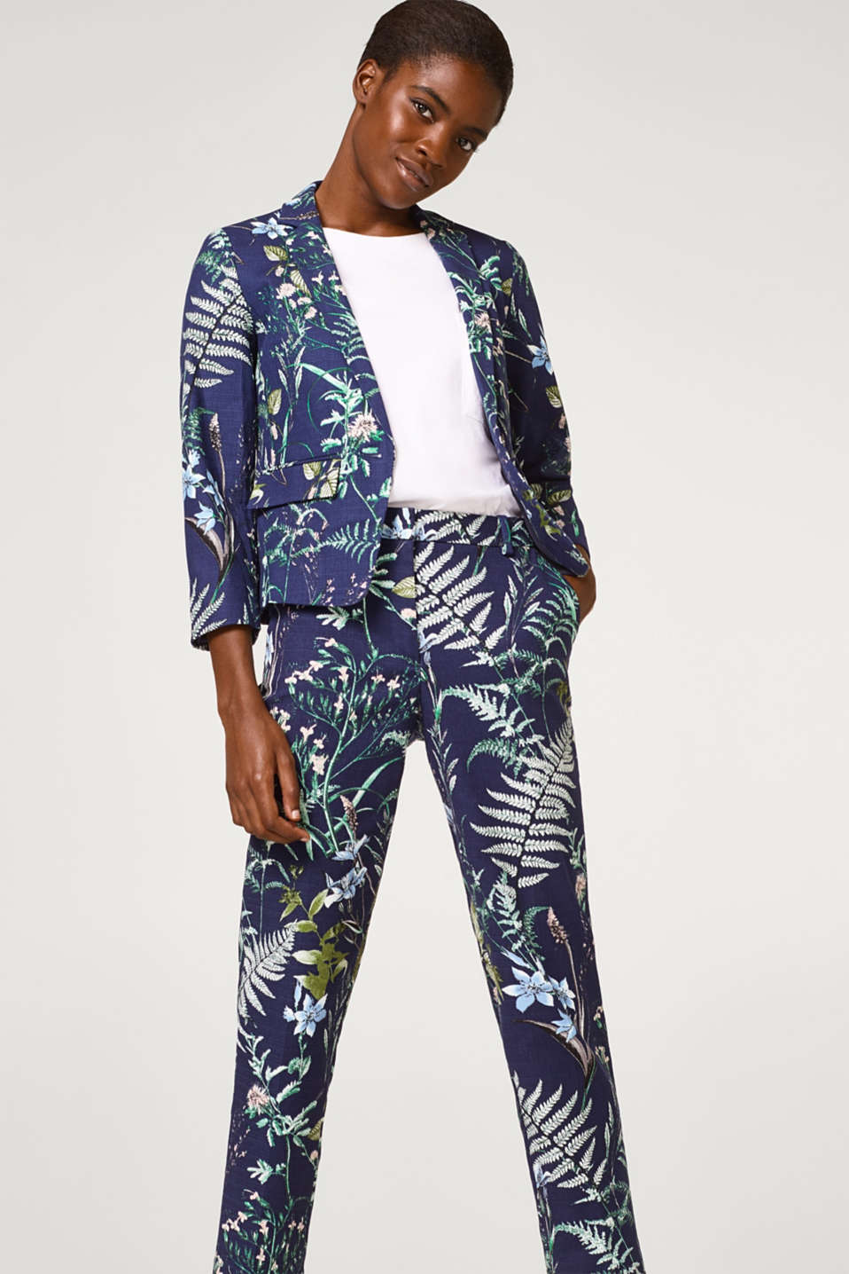 Textured cotton trousers with a botanical print
