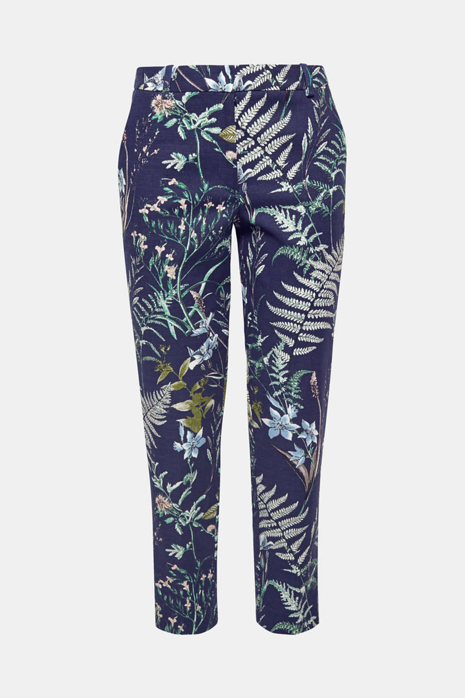 A fashionable highlight for your summer wardrobe: cropped trousers made of textured cotton with a botanical print and stretch for comfort.