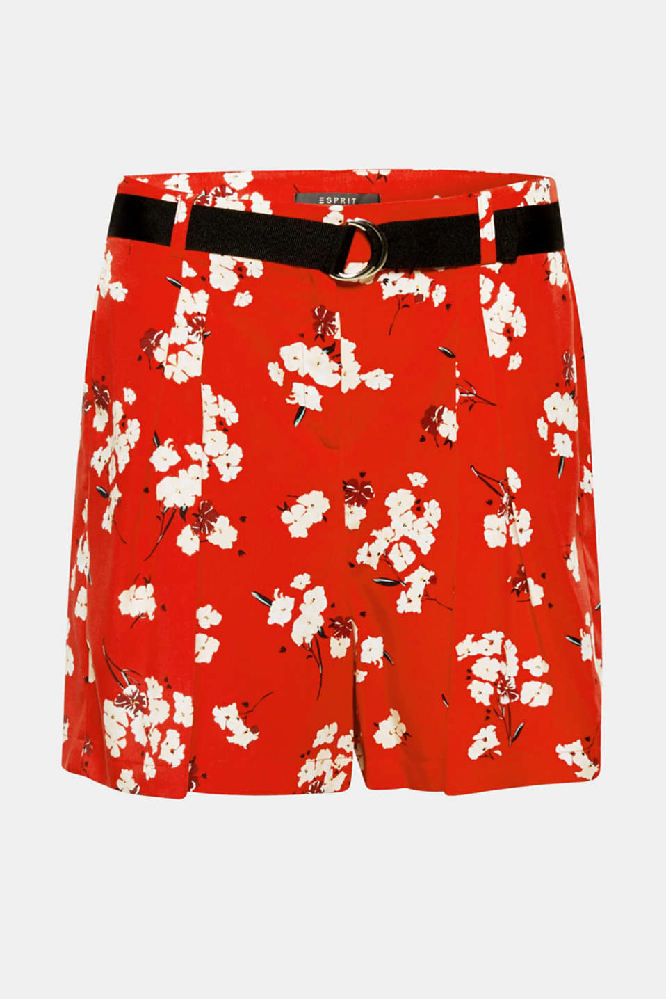 Half skirt, half shorts: Inset waist pleats create a fashionable expanse on this fashion piece, while the Oriental floral prints and grosgrain ribbon belt accentuate the summery vibe!