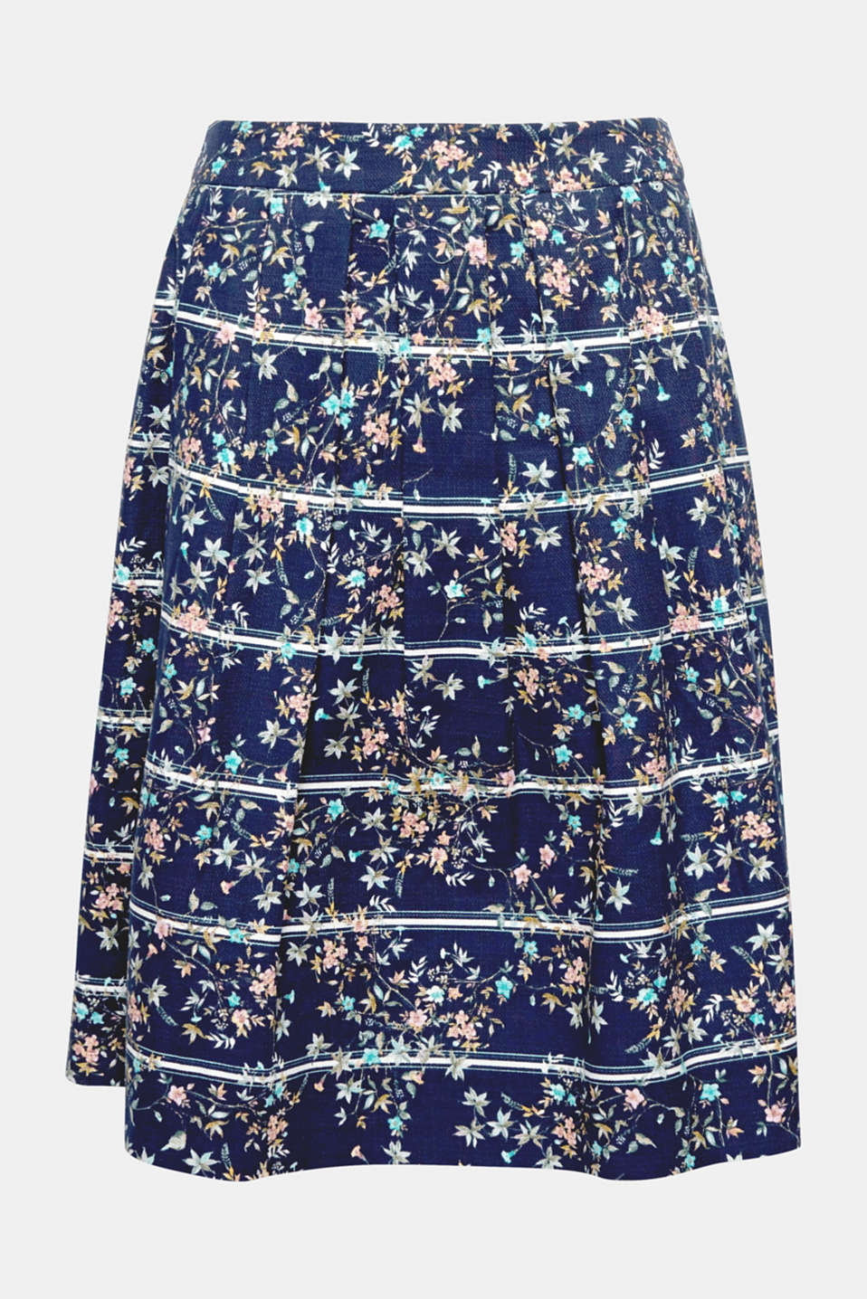 This feminine piece made of finely textured, slightly firmer stretch cotton with a mix of stripes and flowers is one of the latest skirt designs!