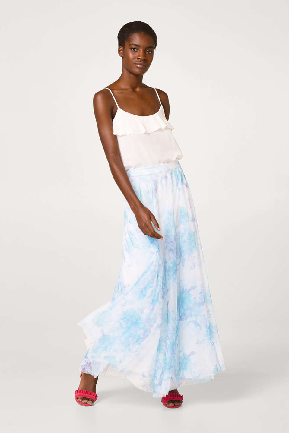 Esprit - Maxi skirt made of delicate tulle with gentle floral print