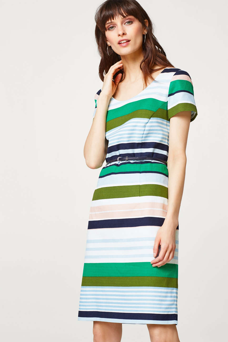 Esprit - Stretch cotton sheath dress with block stripes