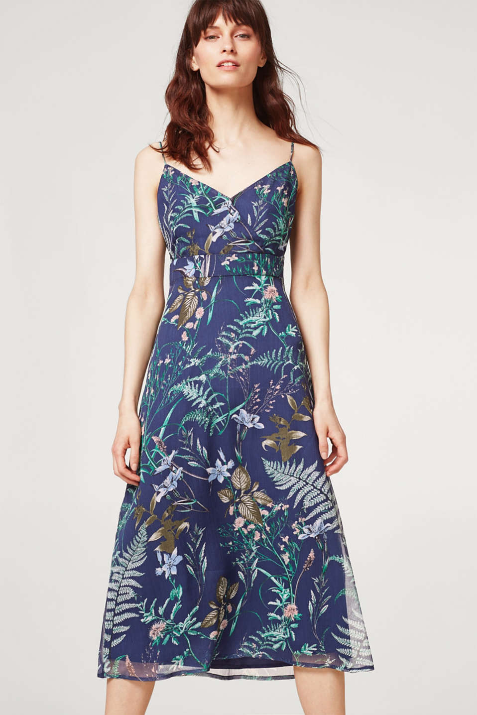 Esprit - Printed chiffon dress with spaghetti straps