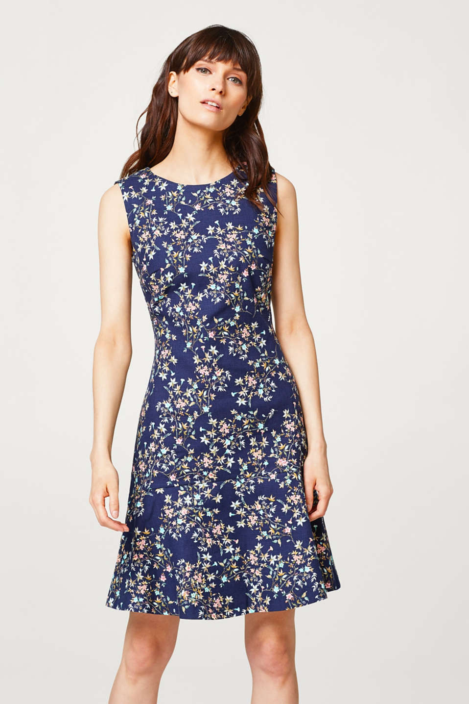 Esprit - Stretch dress with print and texture