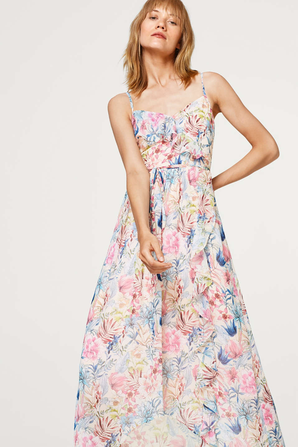 Esprit - Softly draped maxi dress with a print and a flounce