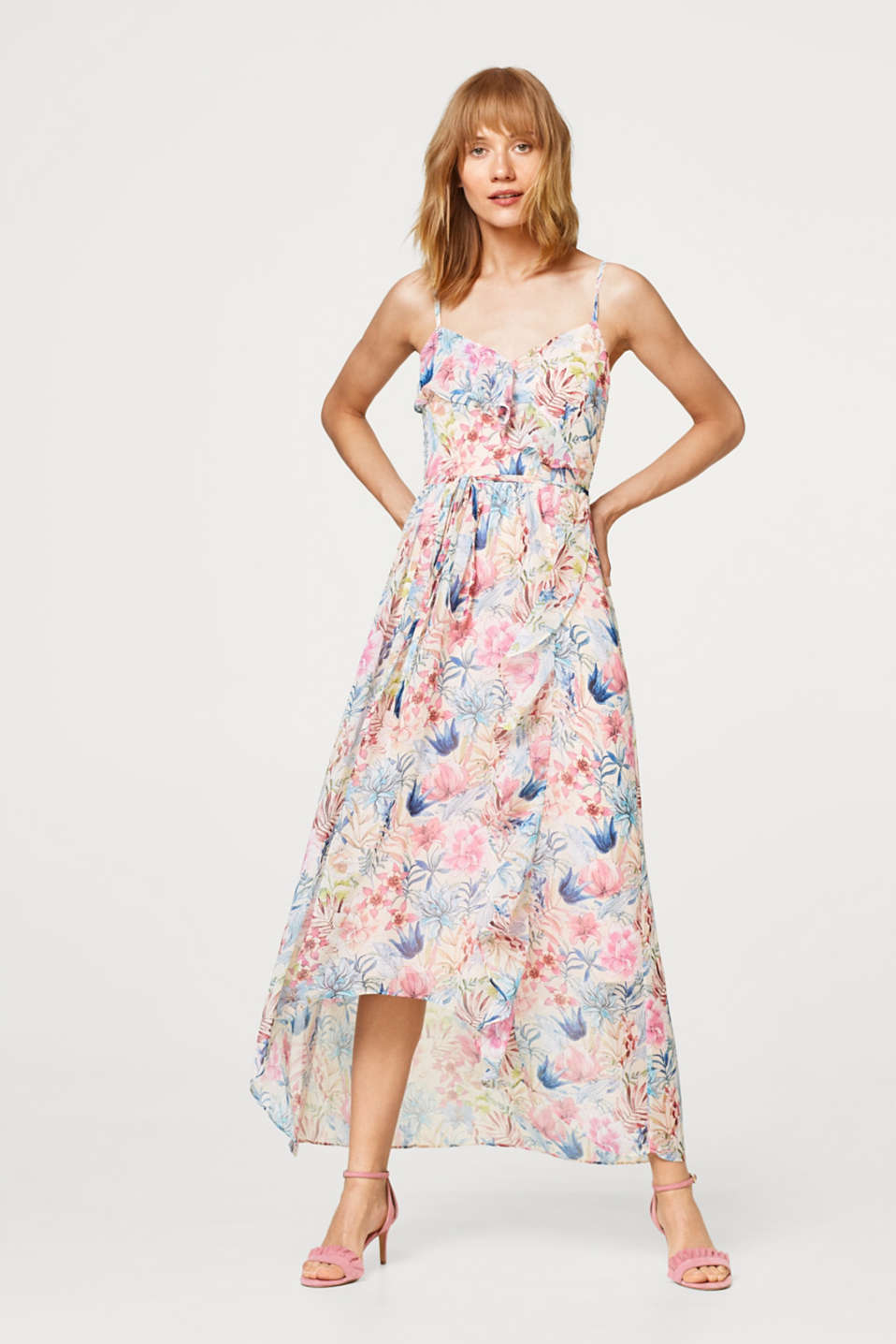 Softly draped maxi dress with a print and a flounce