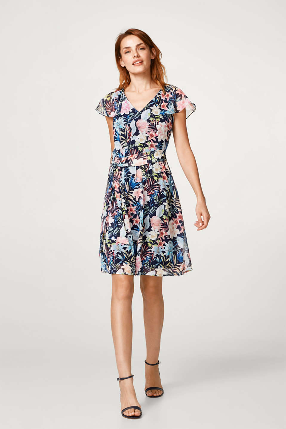 Chiffon dress with a floral print and cap sleeves