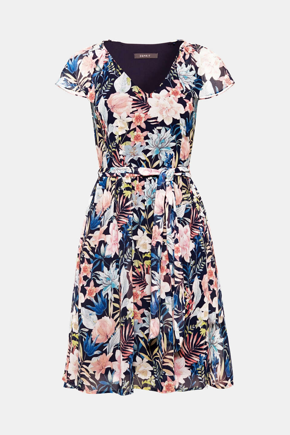 Delicate chiffon and colourful flowers – what a summery trend mix! This airy dress also boasts short cap sleeves and a swirling skirt.