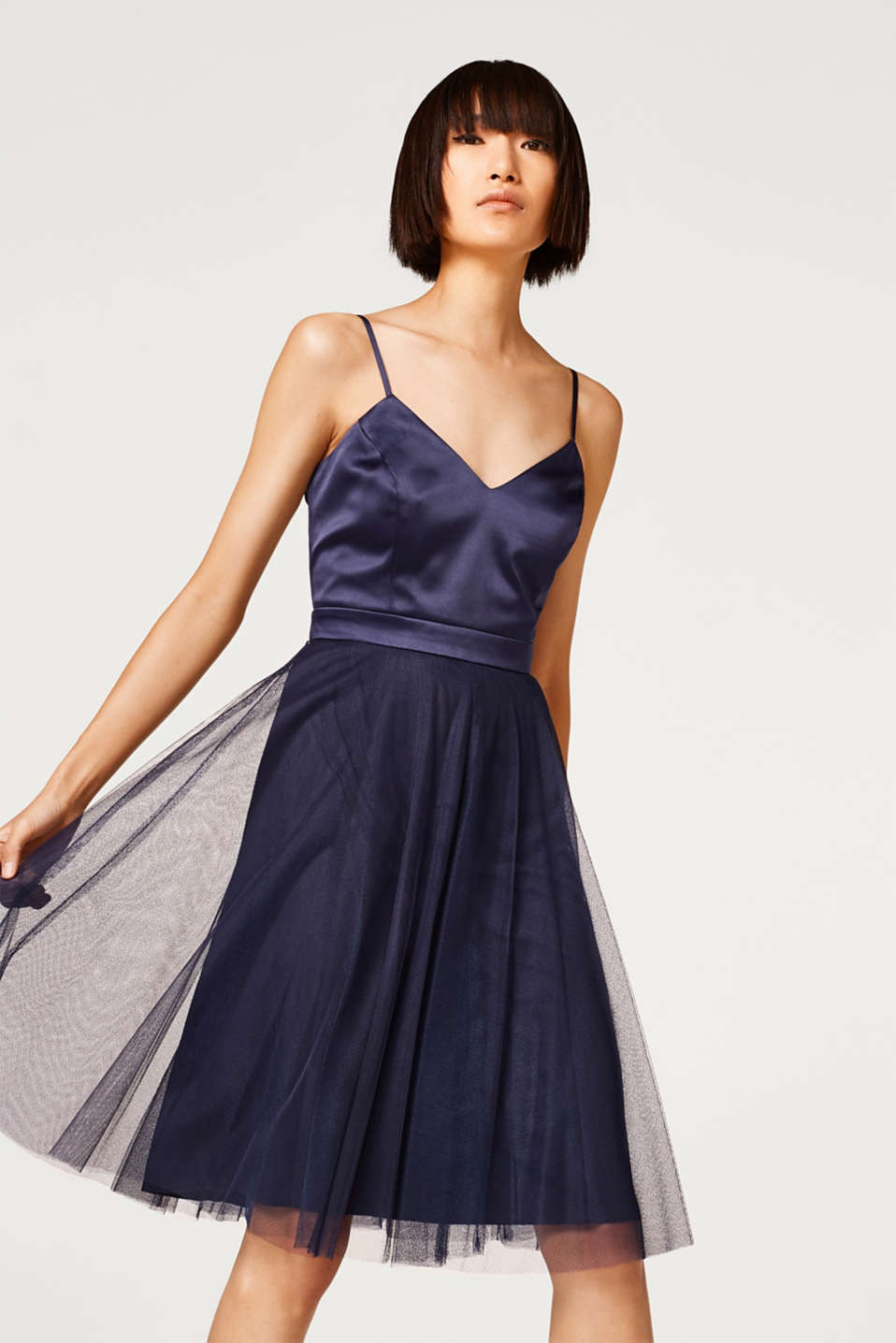 Esprit - 2-In-1 dress with a tulle skirt and a satin top
