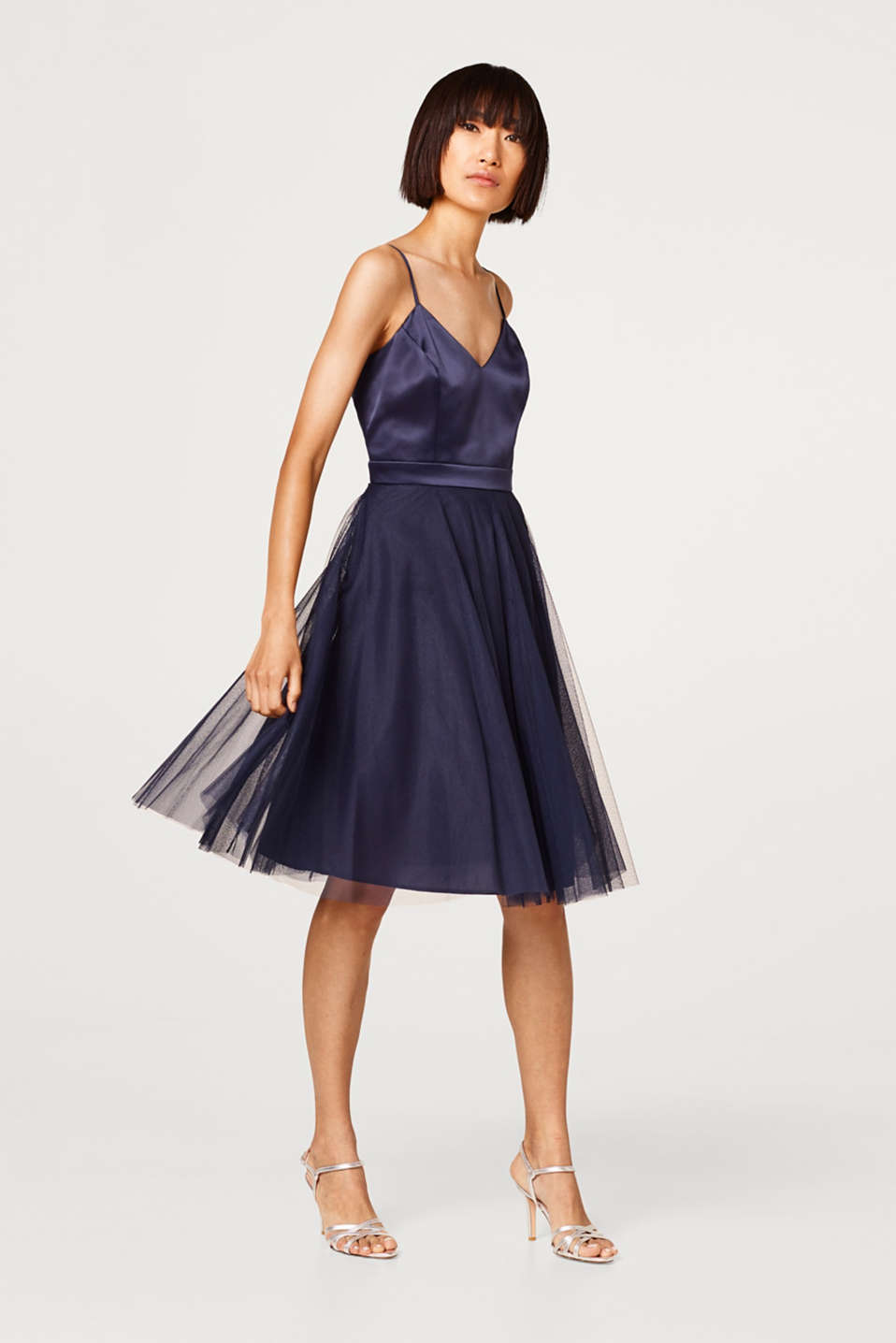 2-In-1 dress with a tulle skirt and a satin top