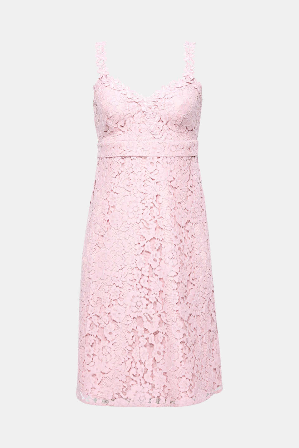 Pure romance! All eyes will be on you in this feminine, pretty dress with floral lace.