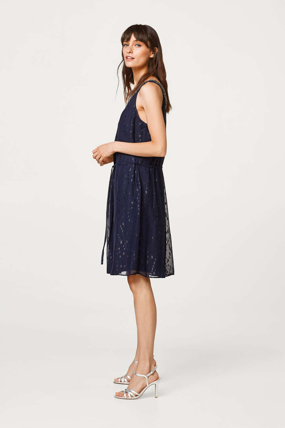 Esprit - Chiffon dress with sheen and glitter effects