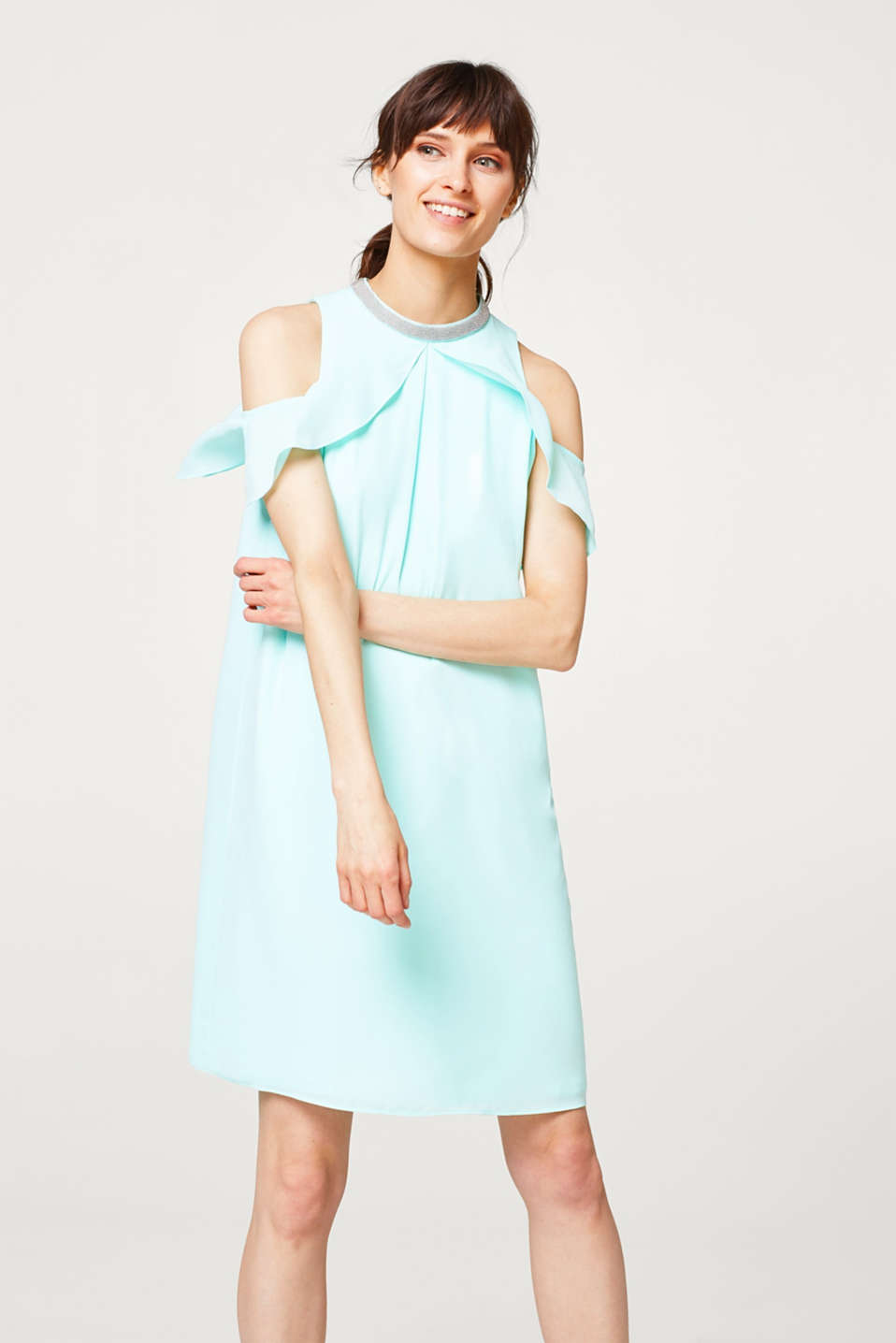 Esprit - Cold shoulder dress with an embellished band collar