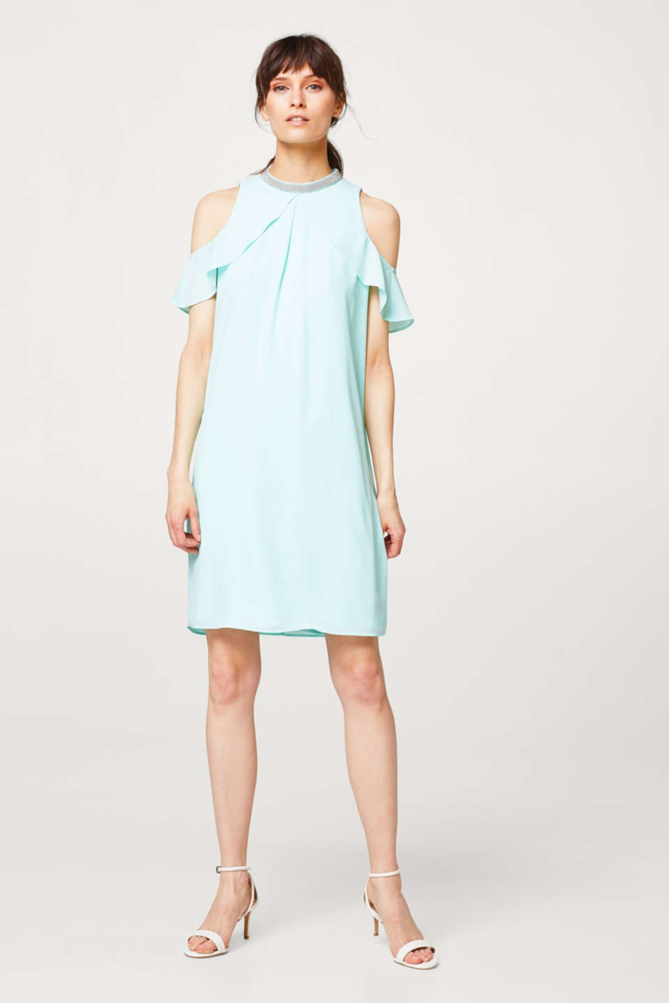 Cold shoulder dress with an embellished band collar