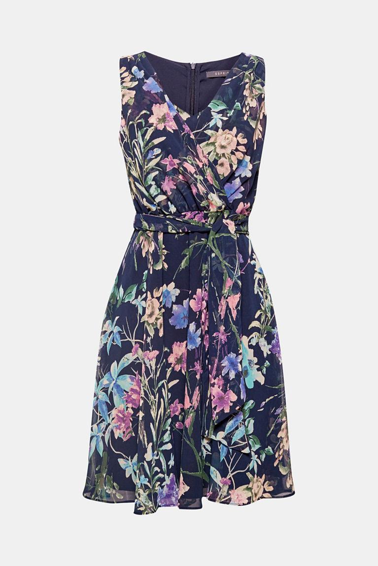 Chiffon-Kleid mit Blumen-Print und Bindegürtel