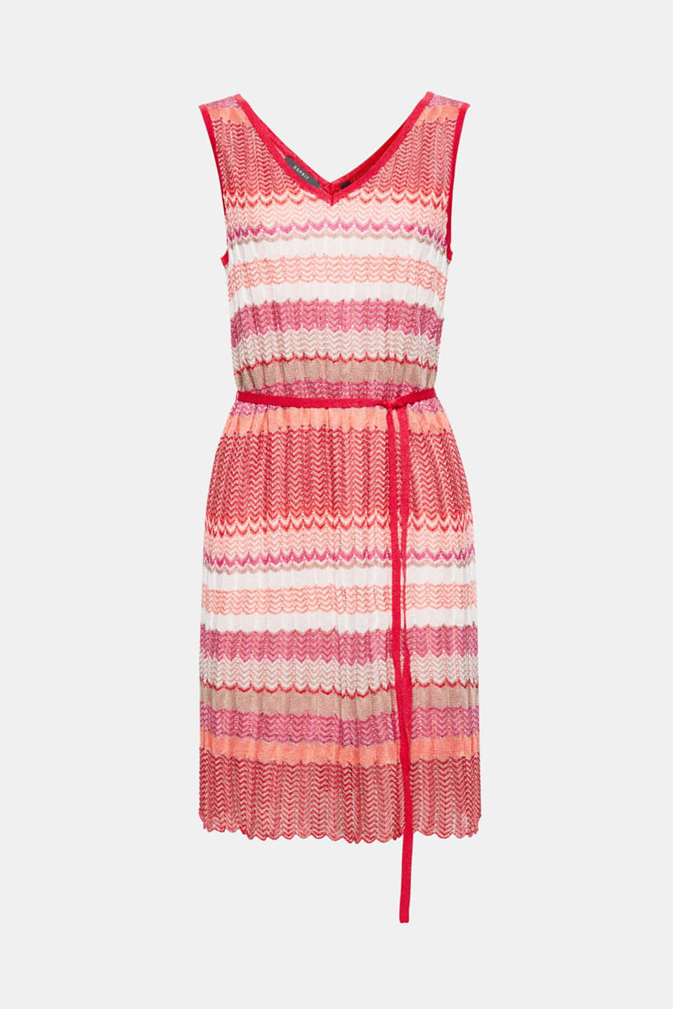 With designer flair: This colourful dress composed of airy openwork knit fabric with a zigzag pattern is cinched in with a tie-around belt!