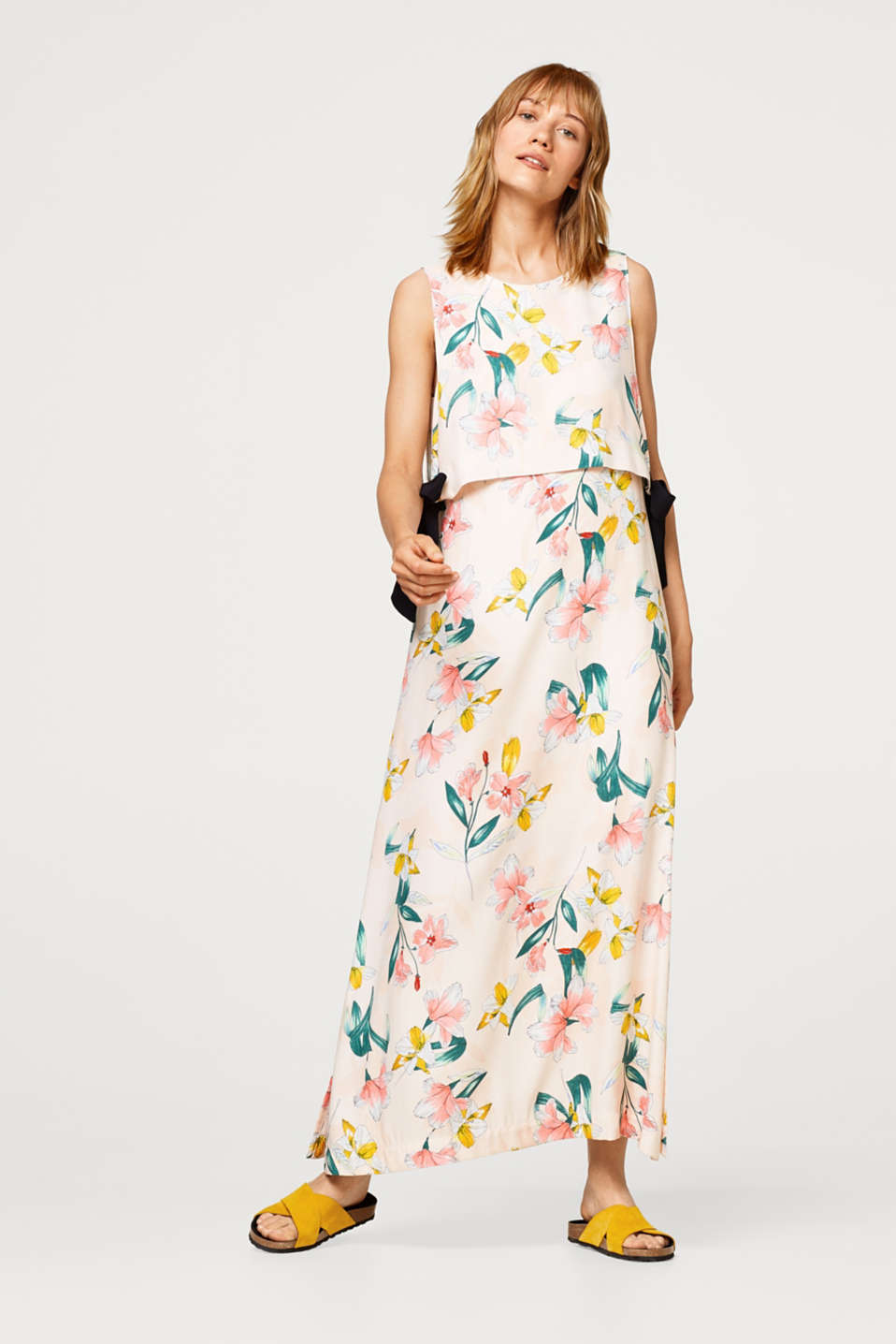 Esprit - Maxi dress with print and layer look