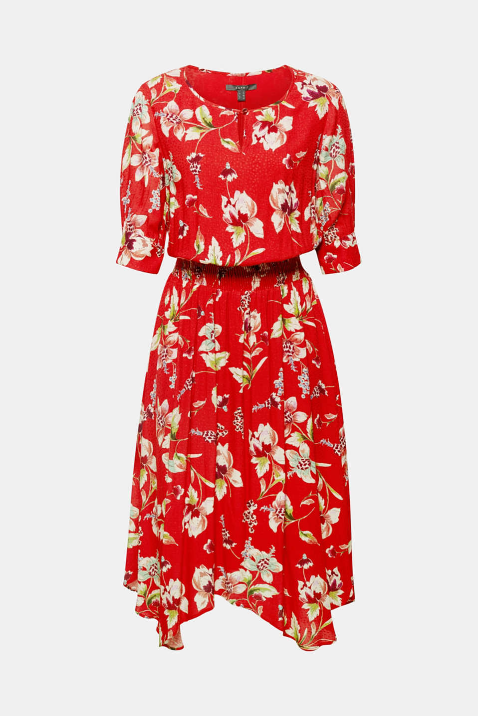 Romantic, feminine and wonderfully floaty – this flowing dress with a floral print, smocked waist and handkerchief hem combines all of the quality that a perfect summer piece should have.