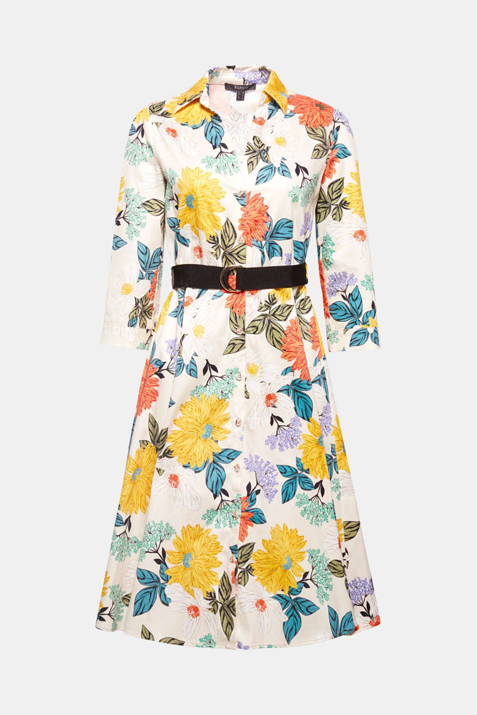 This fitted, figure-accentuating shirt dress comes in a midi length with a floral print and a grosgrain ribbon belt. Made of stretchy cotton fabric for the perfect fit and a high level of comfort!