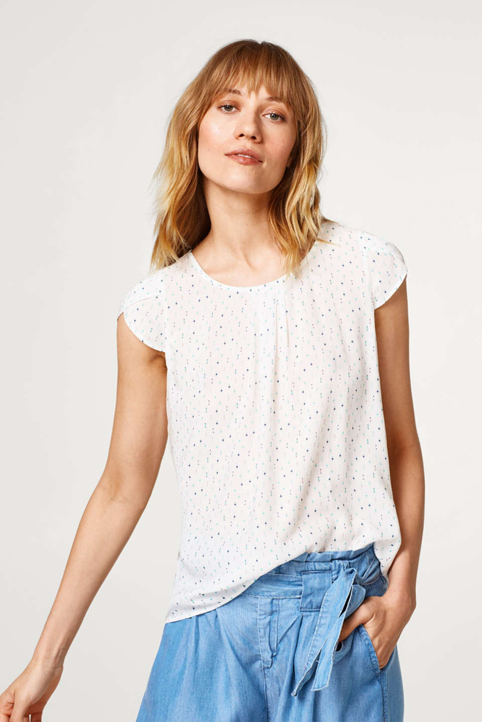 Esprit - Extra-lightweight, printed blouse with pleats